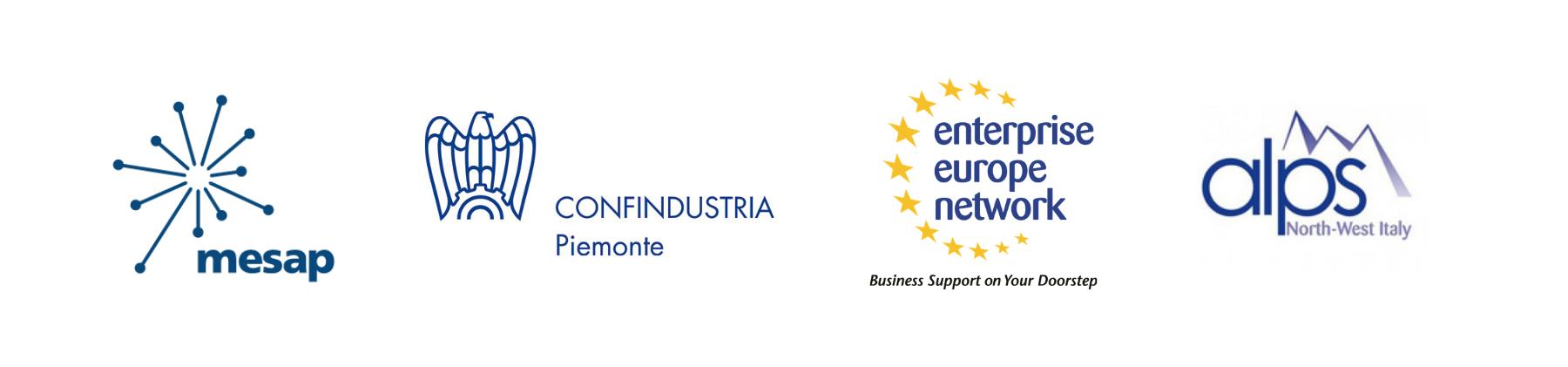 Loghi enti promotori Mesap Confindustria Piemonte EEN Alps Nord Ovest Italia
